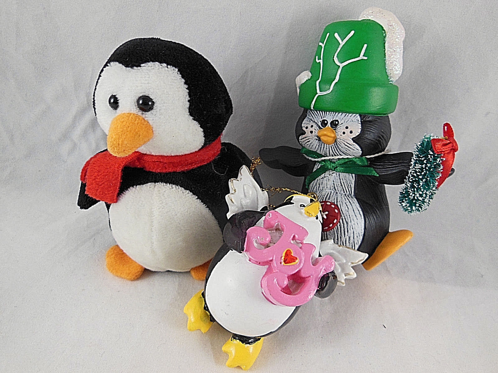 "Primary image for Lot of 3 Penguin Christmas Ornament and Decor 3"" to 5"" Ceramic, cloth & Resin"