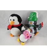 "Lot of 3 Penguin Christmas Ornament and Decor 3"" to 5"" Ceramic, cloth & ... - $6.92"