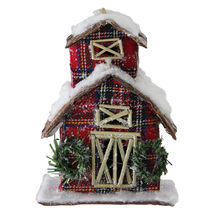 "5"" Holiday Moments Red Plaid Snow Covered Barn Christmas Ornament - tkcc - $27.95"