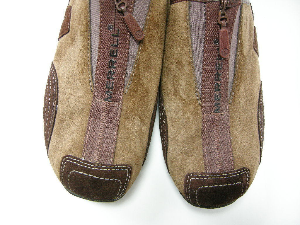 Merrell Shoes Brown Mocha Slip On Zipper Suede Leather Performance Size 8.5