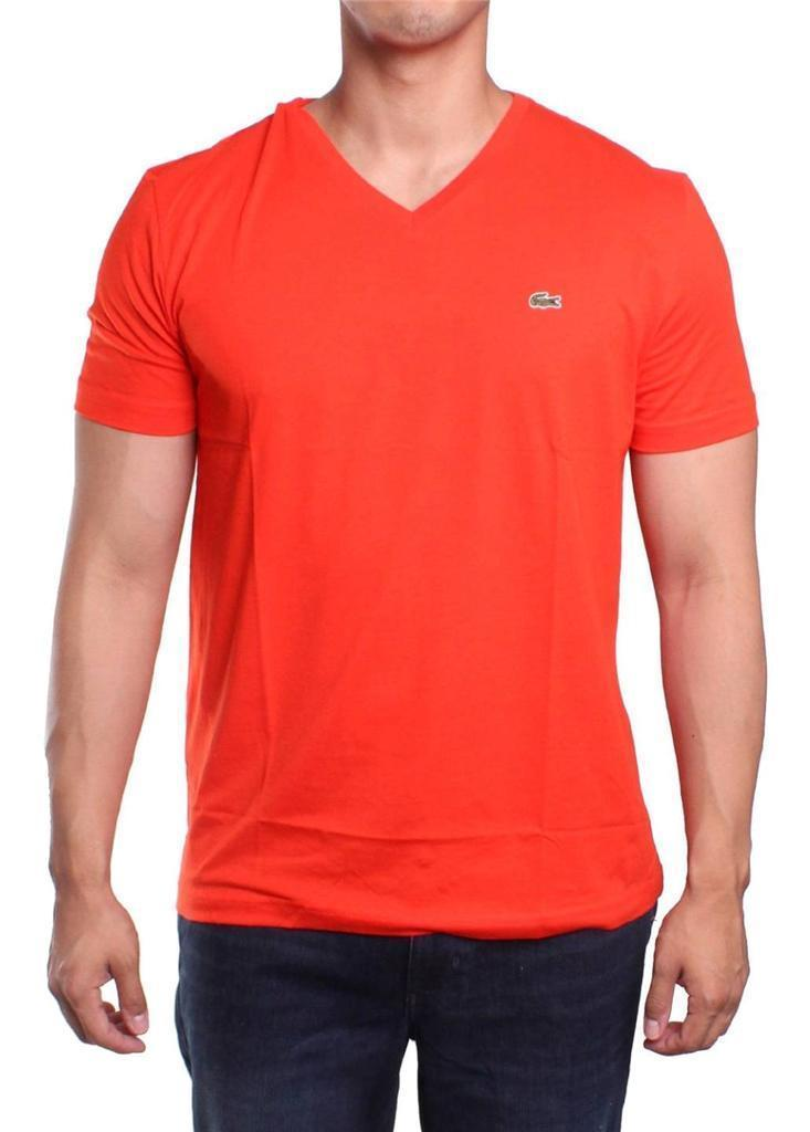 NEW LACOSTE MEN'S SPORT ATHLETIC PREMIUM PIMA COTTON V-NECK SHIRT T-SHIRT EMBER