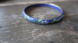 """2.5"""" x 8mm Antique Cloisonne Blue Enamel Bangle Bracelet - $58.41"""