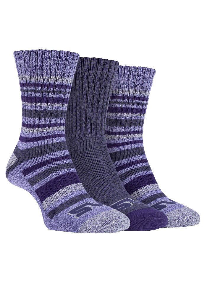 Storm Bloc - 3 Pack Womens Striped Cushioned Ribbed Hiking Boot Socks for Summer