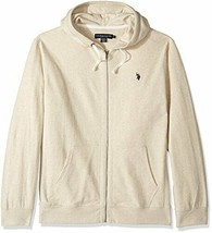 U.S. Polo Assn. Men's Slim Fit Solid French Terry Hooded Jacket, Oatmeal... - $39.59