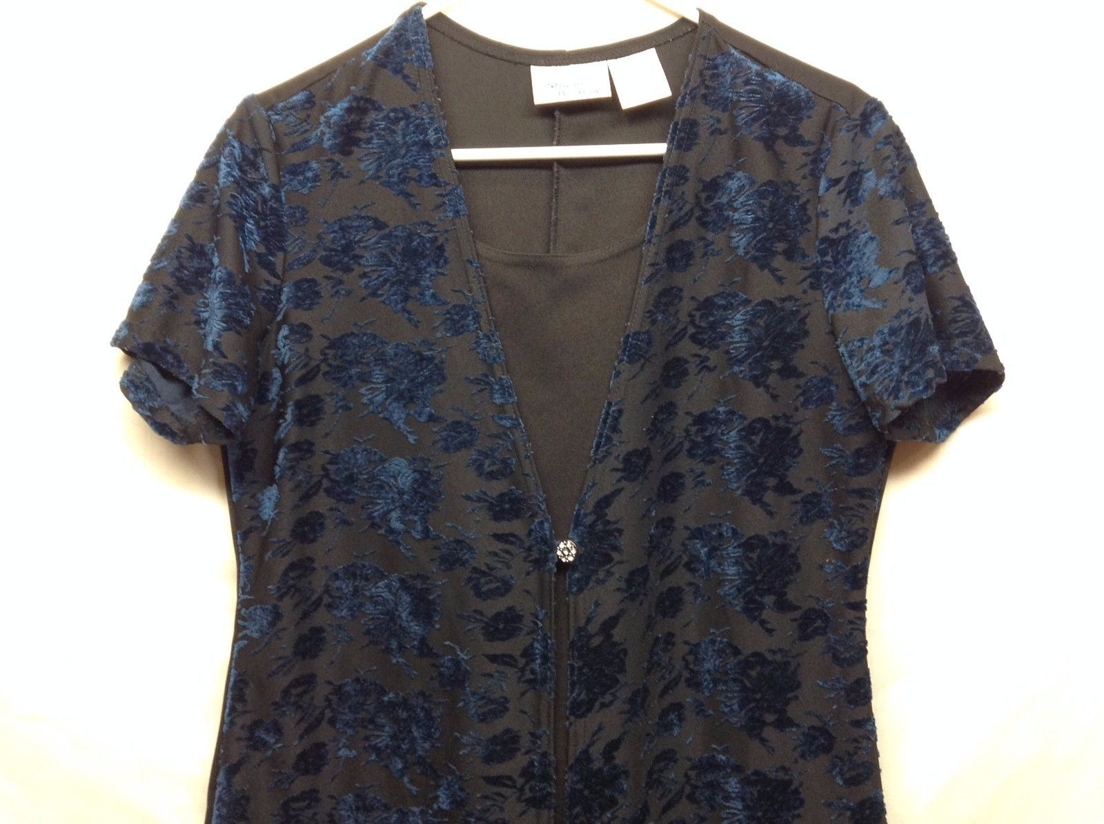 Kathie Lee Collection Black w Blue Floral Embroidery Dress w Jacket Sz M