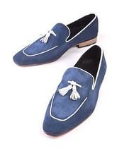 Handmade Men's Leather Suede Navy Blue White Tassel Slip Ons Loafer Shoes image 3