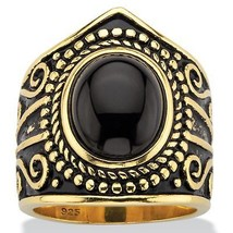 PalmBeach Jewelry Simulated Black Onyx Antiqued 18k Gold over .925 Silve... - $26.48