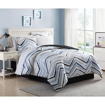 Chevron Bed Set White Black Blue Chic Wild Vivid Colors King Geometric Design - $54.40
