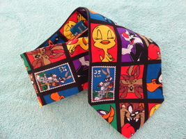 Mens Neck Tie Looney Tunes 1997 Stamp Collection Polyester Necktie Warne... - $5.00