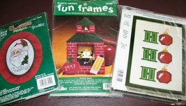 Lot 3 Christmas Cross Stitch & Plastic Canvas Kits Santa Claus~Ho Ho Ho~School - $12.19