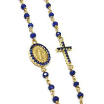 18K YELLOW GOLD ROSARY NECKLACE, FACETED SAPPHIRE ROOT, CROSS & MIRACULOUS MEDAL image 4