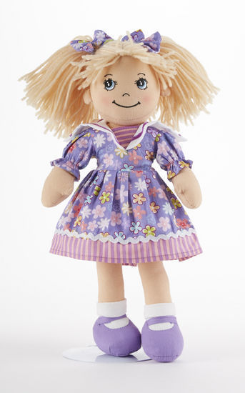 "Primary image for Blonde Hair Apple Dumplin Doll, Purple Explosion Floral Dress, 14"", Delton"