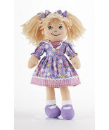 "Blonde Hair Apple Dumplin Doll, Purple Explosion Floral Dress, 14"", Delton - $29.99"