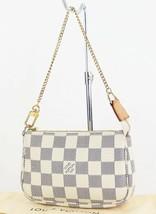 Authentic LOUIS VUITTON Mini Accessory Pouch Damier Azur Hand Bag #33176 - $349.00