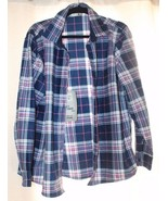 NEW WOMENS XL LEE RIDERS SOFT FLEECE  BLUE AND PINK PLAID SHIRT  - $18.37
