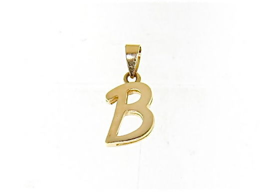 18K YELLOW GOLD LUSTER PENDANT WITH INITIAL B LETTER B MADE IN ITALY 0.71 INCHES