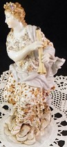 Antique Meissen Volkstedt Porcelain Lady Figurine Sitting Playing Double... - $399.99