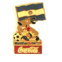 Coca Cola Argentina World Cup 1994 Lapel Pin Flag Striker the Dog Soccer Ball - $13.99