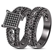 Ladies 2-Pcs Wedding Ring Bridal Set Black Rhodium Plated 925 Sterling S... - $93.99