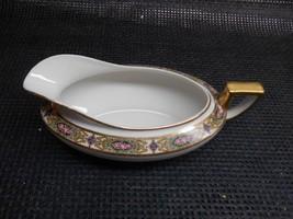 Old Vtg HOMER LAUGHLIN China GRAVY BOAT Rose Gold Ribbon Trim Pattern Di... - $19.79