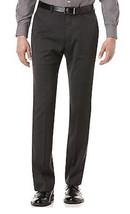 Perry Ellis Men's Black Striped Charcoal Dress Flat Front Slim Fit Dress... - $39.99