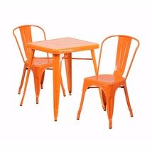 Flash Furniture Orange Metal Indoor Outdoor Table Set With 2 Stack Chair... - $259.34