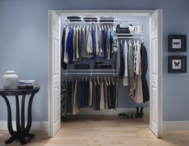 Metal Closet Organizer Adjustable System Kit Shelf Track Clothes Shoes S... - $112.10