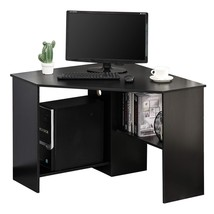 Corner Computer Desk with Storage Shelf, Writing Table Study Workstation... - $211.14