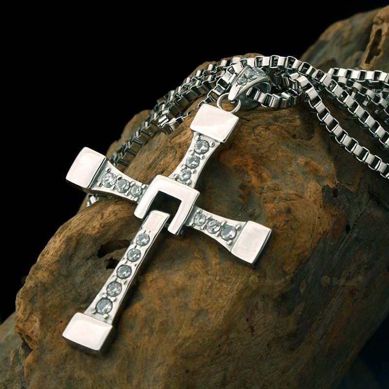 The Fast and The Furious Vin Diesel Titanium Steel Jesus Cross Pendant Necklace image 6