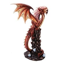 Extra Large Red Fire Dragon Statue Finish Made of Polyresin - $109.99