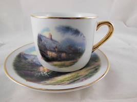 Thomas Kinkade Moonlight Cottage Cup & Saucer Gold Rim NICE Teleflora quality - $11.08