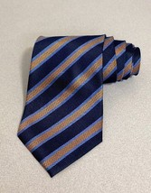 Ermenegildo Zegna Men's Navy Orange Diagonal Stripe Tie NEW ! - $48.51