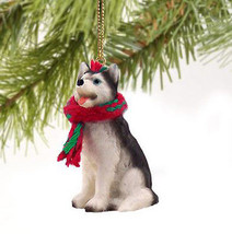 SIBERIAN HUSKY (BLACK/WHITE, BLUE EYES) DOG  CHRISTMAS ORNAMENT HOLIDAY ... - $9.50