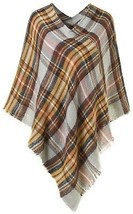 Ferand Lightweight Knitted Plaid Pullover Poncho Shawl For Women, Yello... - $27.54