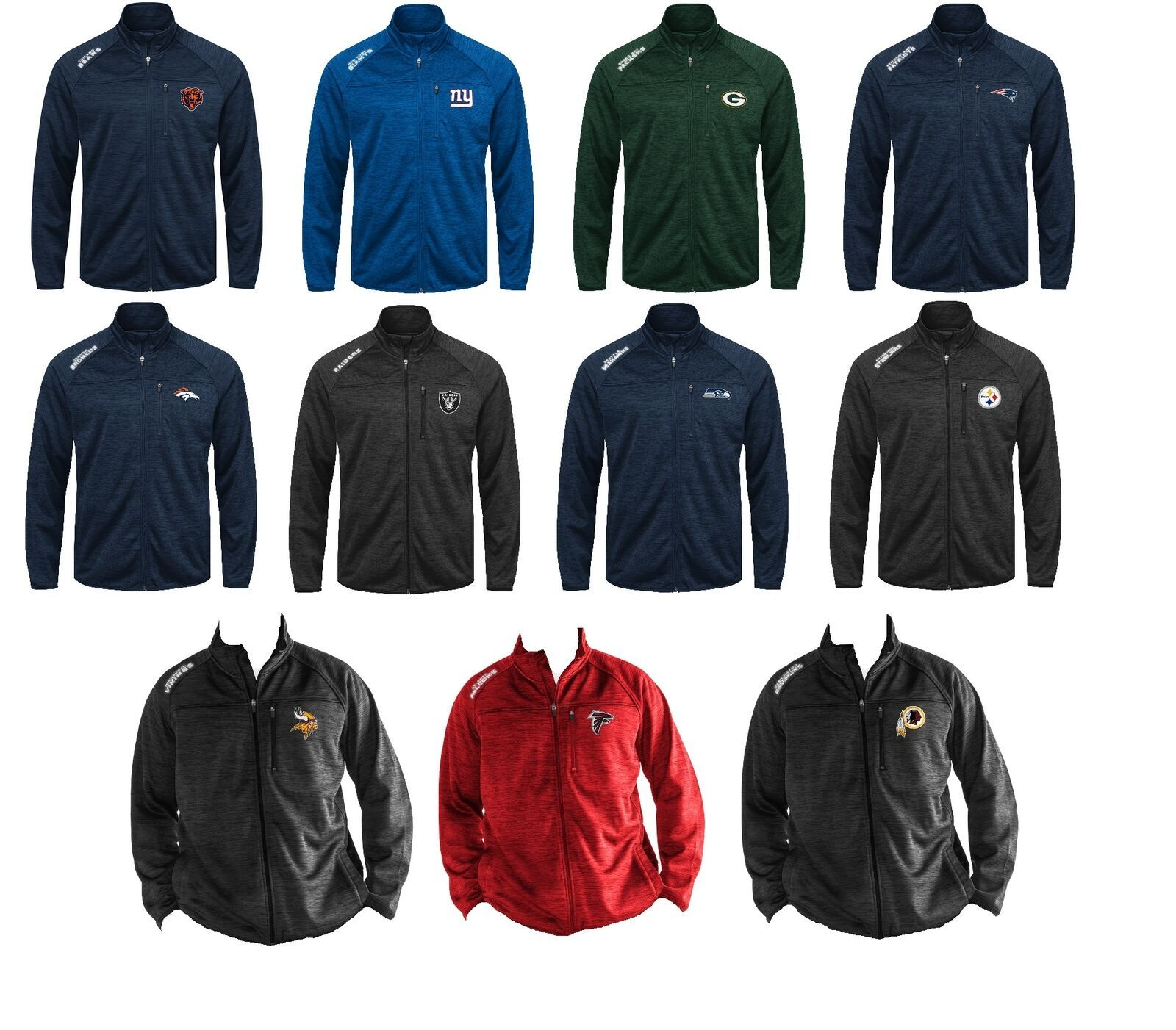 NFL Men's Jacket Mindset Transitional Mid-Weight Full Zip Authentic Licensed NEW