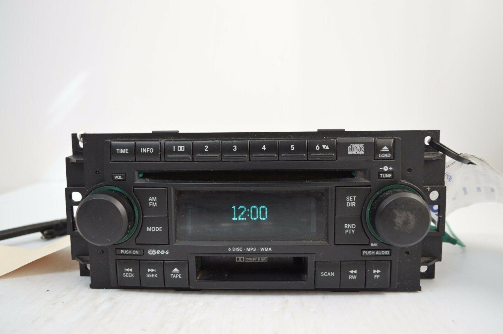 2005-2007 CHRYSLER DODGE RADIO 6 CD MP3 CASSETTE PLAYER TESTD 5091523AL AA36#016