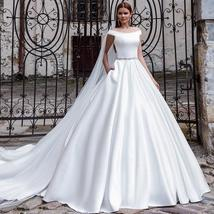 Luxury Solid Satin A-Line Princeess Bridal Gown With Train Back Button image 1