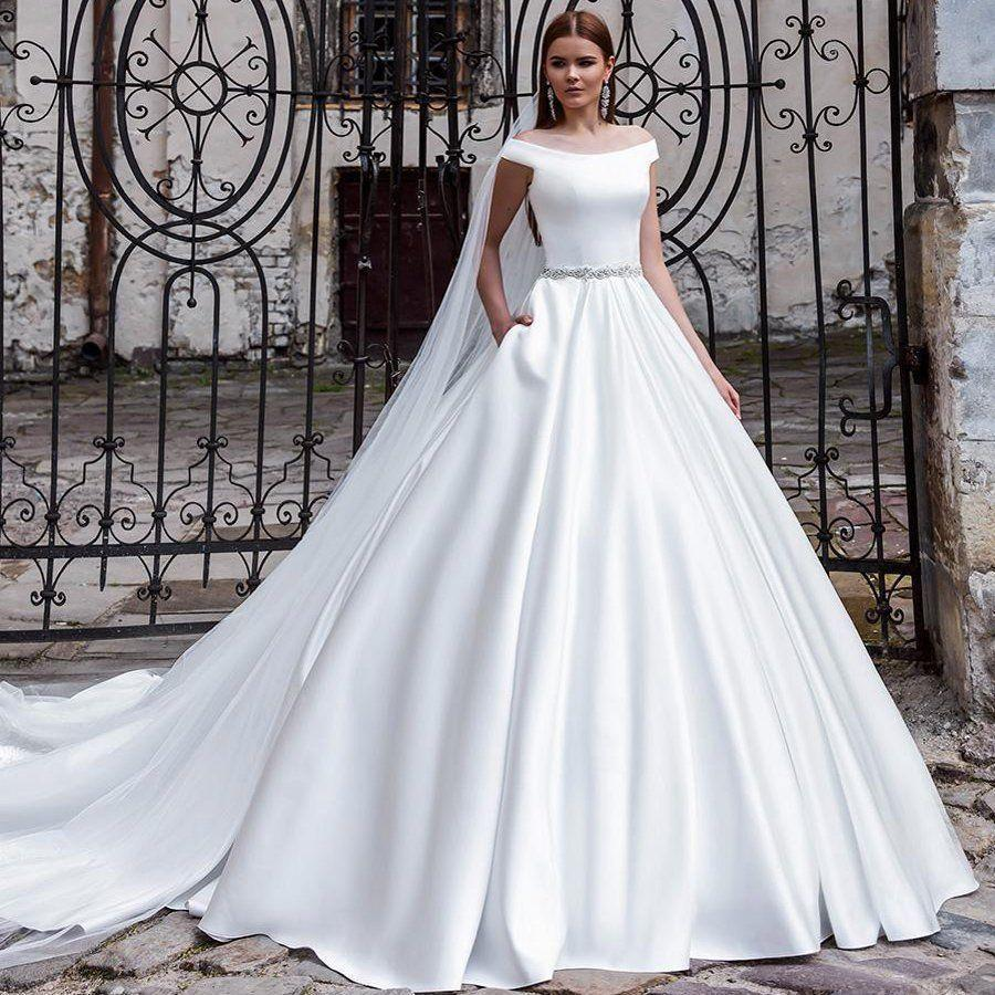 2020 new mrs win wedding dress luxury satin elegant boat neck wedding gown with train back