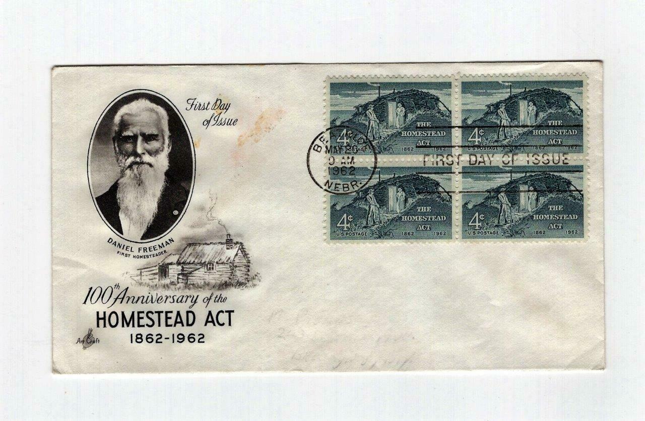 FDC ENVELOPE-100th  ANNIVERSARY. HOMESTEAD ACT - 4BL 1962 ART CRAFT CACHET  BK13