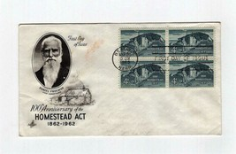 FDC ENVELOPE-100th  ANNIVERSARY. HOMESTEAD ACT - 4BL 1962 ART CRAFT CACH... - $1.47