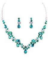Elegant Clear & Deep Teal Blue-Green Rhinestone Teardrop Bib Statement N... - $31.76
