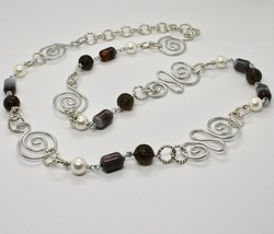 Necklace the Aluminium Long 88 Inch with Chalcedony Quartz White Pearls image 1
