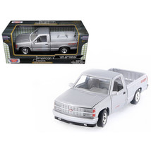 1992 Chevrolet 454 SS Pickup Truck Silver 1/24 Diecast Model Car by Moto... - $29.77