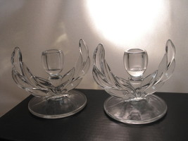 Indiana Willow Candlestick Set Clear Crystal Depression Glass c1940 Sing... - $24.95
