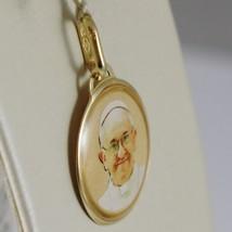 Anhänger Medaille Gelbgold 750 18K, Papa Francesco, Emailliert, Made in Italien image 2