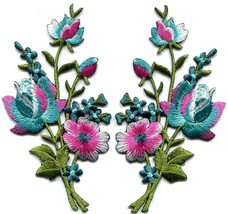 Pink blue turquoise silver roses flowers bouquet applique iron-on patche... - $3.95