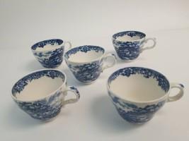 Alfred Meakin Blue & White Coffee Tea Cup Danish Blue Delft Style Pictur... - $48.99