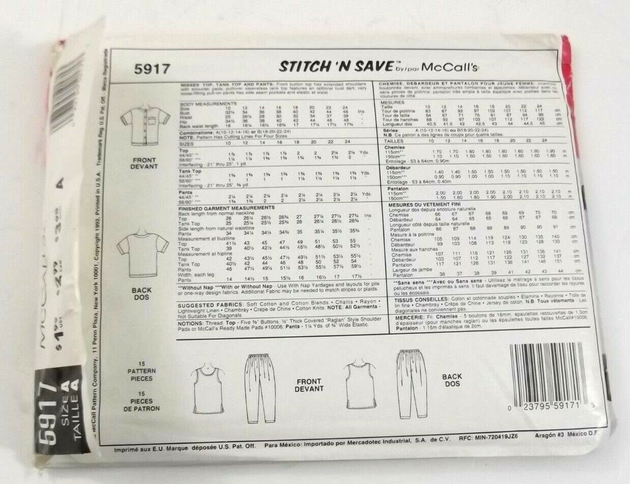 McCalls Easy Stitch N Save 5917 Misses Top Tank Top Pants Size A Vintage Uncut