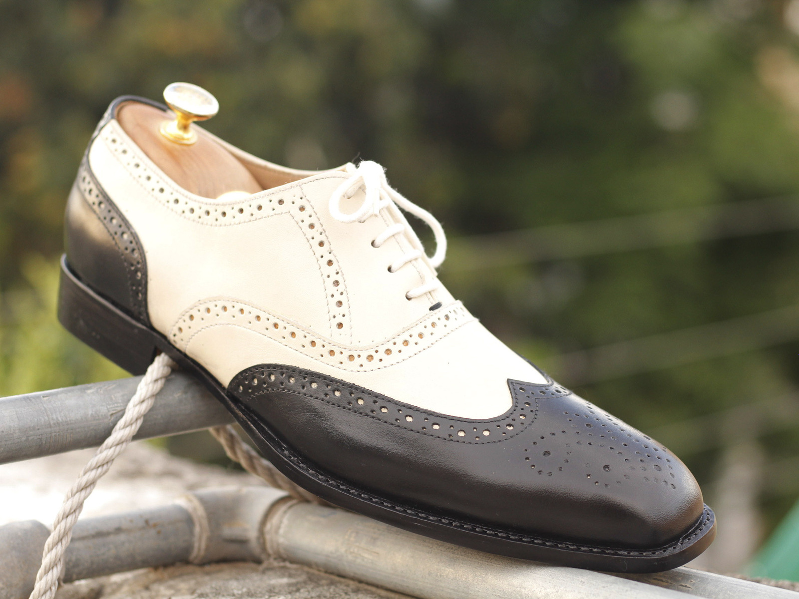 Primary image for Men's Wing tip Black White Leather Shoes, Oxford Dress Stylish Shoes