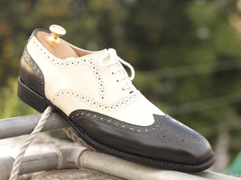 Men's Wing tip Black White Leather Shoes, Oxford Dress Stylish Shoes - $139.00 - $179.97